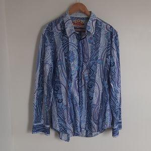 Robert Graham Paisley Graphic Flip Cuff Shirt Blue